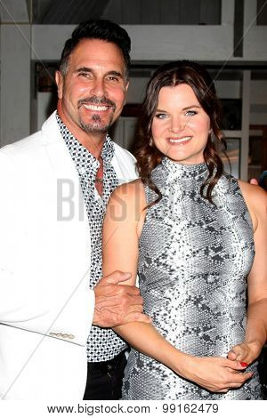 LOS ANGELES - AUG 14:  Don Diamont, Heather Tom at the Bold and Beautiful Fan Event Friday at the CBS Television City on August 14, 2015 in Los Angeles, CA
