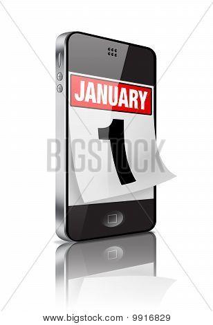 January 1 Mobile Calendar