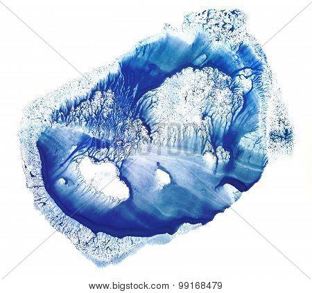 Rorschach. Blue watercolor