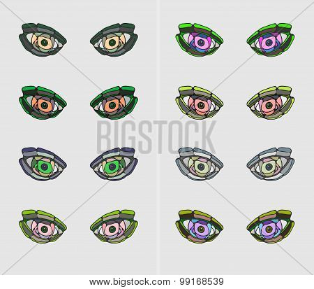 Colorful stylized eyes