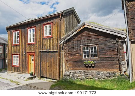 Exterior of the traditional timber houses of the copper mines town of Roros, Norway.