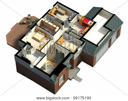 Isometric view of a furnished house