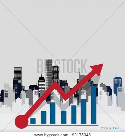 Modern design graph. Business graph to success with building background, can use for business concept. Vector illustration.