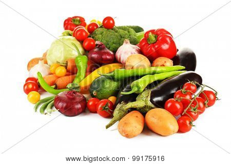 Heap of fresh vegetables isolated on white poster
