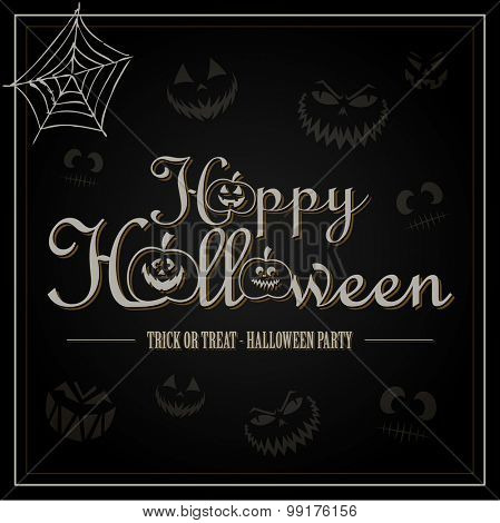 Vintage Happy Halloween Typographical Background With Pumpkins On black background