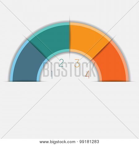 Infographic Color Semicircle On 4 Positions