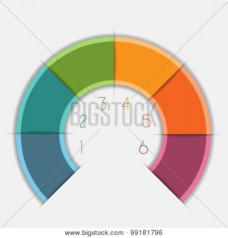 Infographic Color Semicircle On 6 Positions