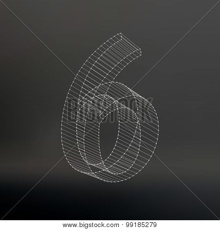 Vector low poly numbers 6. Polygon number 6. Vector illustration.