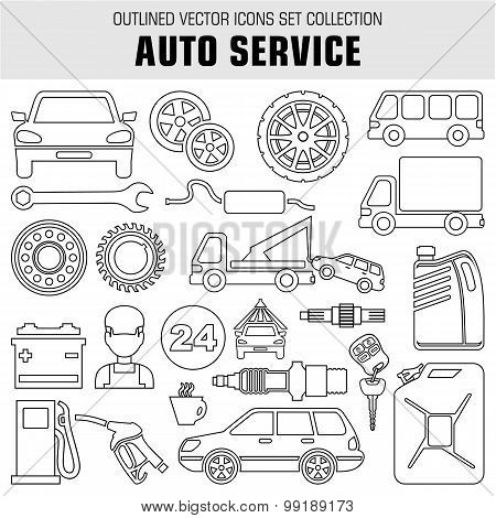 Outline Set Autoservice Icons. Vector