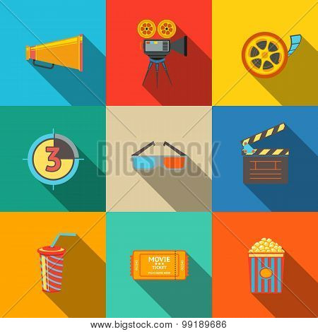 Flat modern cinema, movie icons set - projector, film strip, 3D glasses, clapboard, popcorn in a str