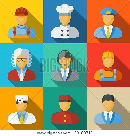 Flat icons with people faces of different professions - cook, worker, pilot, lawman, call operator,