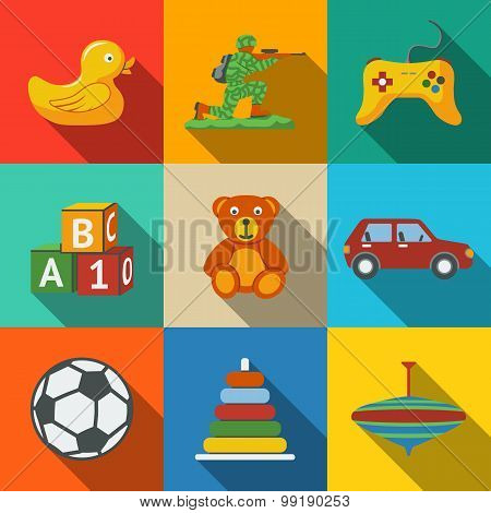 Toys flat long shadow icons set with - car, duck, bear, pyramid, ball, game controller, blocks, whir