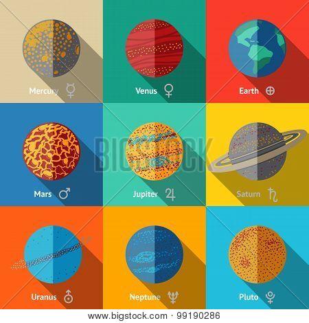 Flat icons set - planets with names and astronomical symbols - mercury and venus, earth, mars, jupiter, saturn, uranus, neptune, pluto. Vector illustration poster