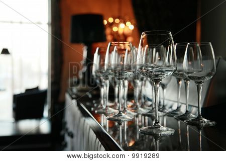 Wine Glasses On The Bar