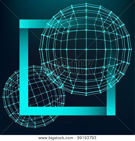 Mesh polygonal background. Scope of lines and dots. Ball of the lines connected to points. Molecular lattice. The structural grid of polygons poster
