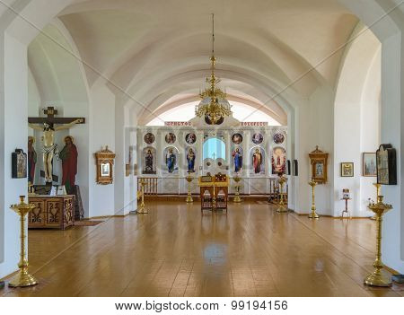 Hall Of Worship With The Iconostasis In The Background In The Orthodox Christian Church