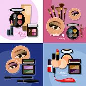 Makeup beautiful female eye eyeshadow eyelashes lip liner lipstick mascara professional cosmetics glamorous make-up vector icons poster