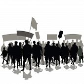Protesters crowd with banners and flags. Vector illustration poster
