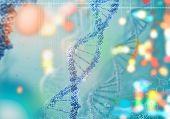 Biochemistry concept with digital blue DNA molecule poster