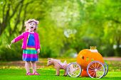 Cute curly little girl playing Cinderella fairy tale holding magic wand next to a pumpkin carriage in autumn park at Halloween. Kids trick or treat at pumpkin patch. Family with children carving. poster