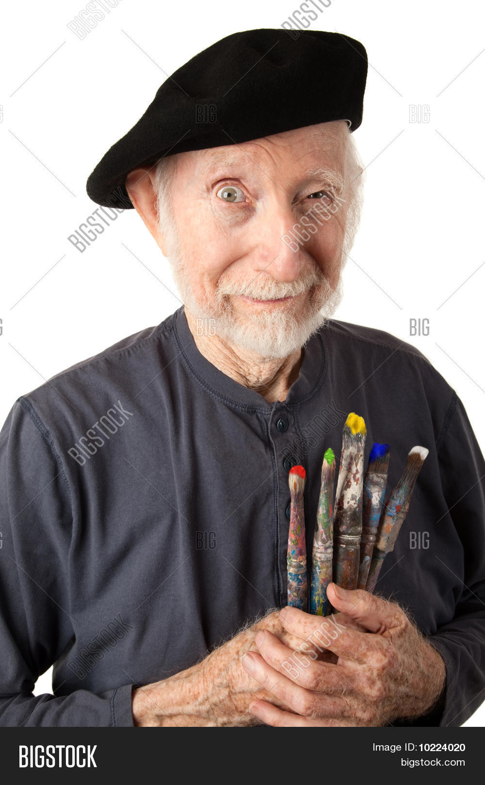 2ed74f371500a Eccentric senior artist with brushes wearing a beret