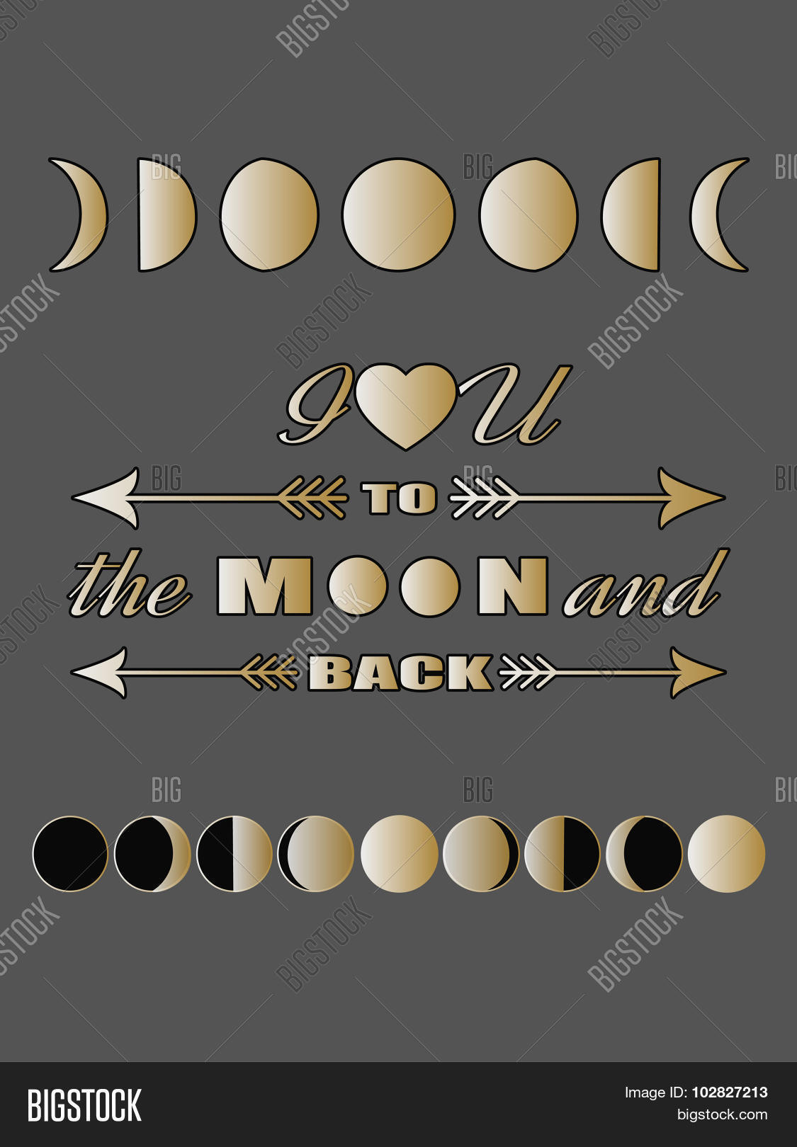 Love Quote Lettering Inspirational Valentines Day Card Concept Moon Phases Poster