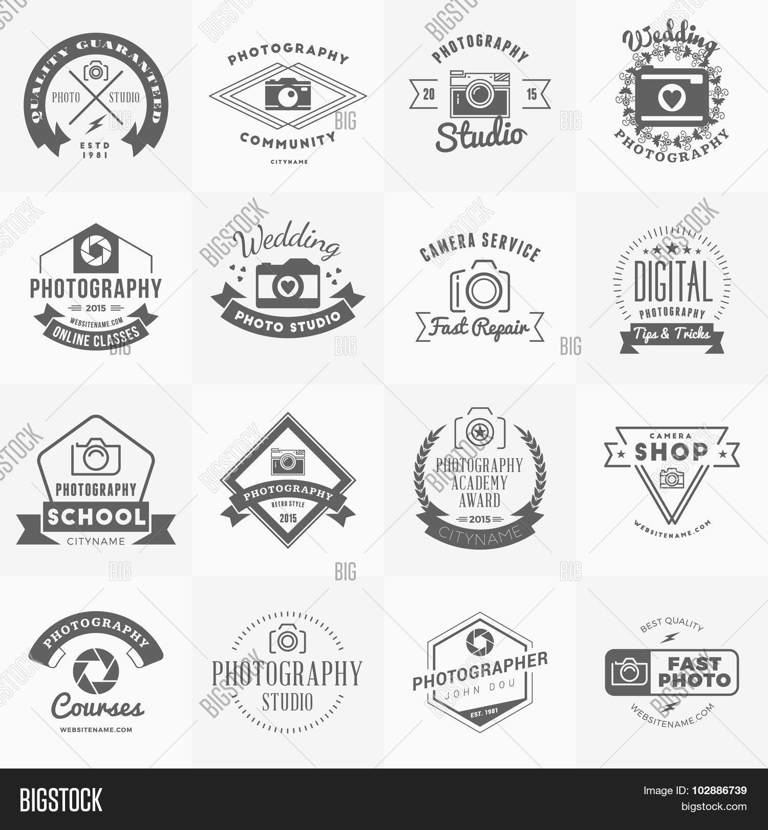 Vector Set Of Photography Logo Design Templates Retro Vintage Badges And Labels Weddi