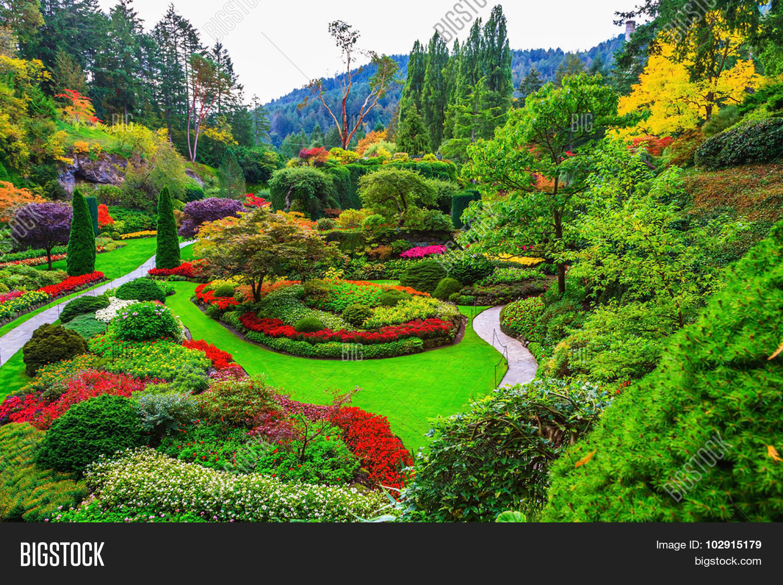 butchart gardens - gardens on image & photo | bigstock