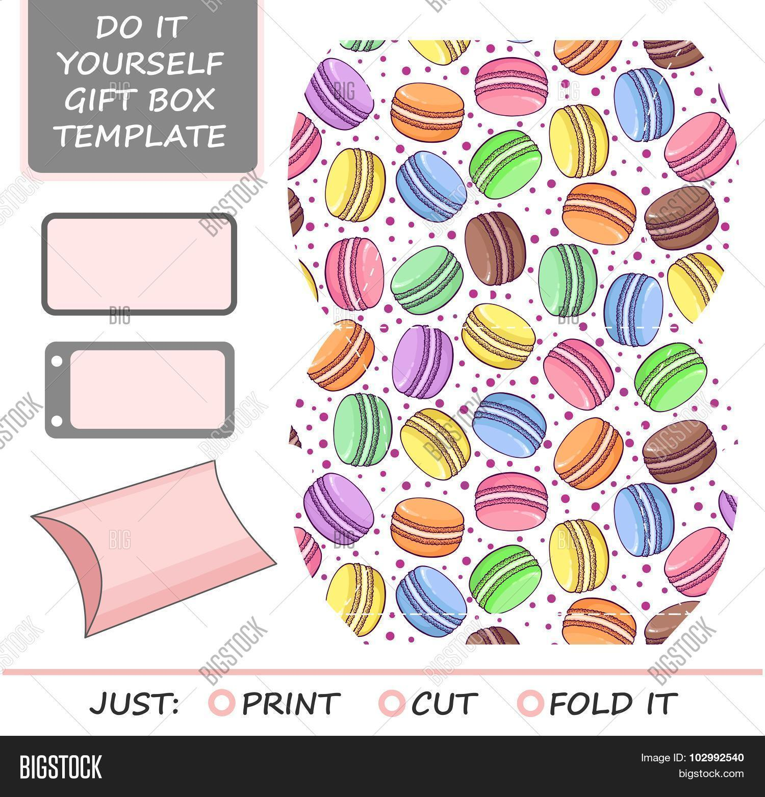 Favor gift box die vector photo free trial bigstock favor gift box die cut box template with macaron pattern great for birthday or solutioingenieria Images