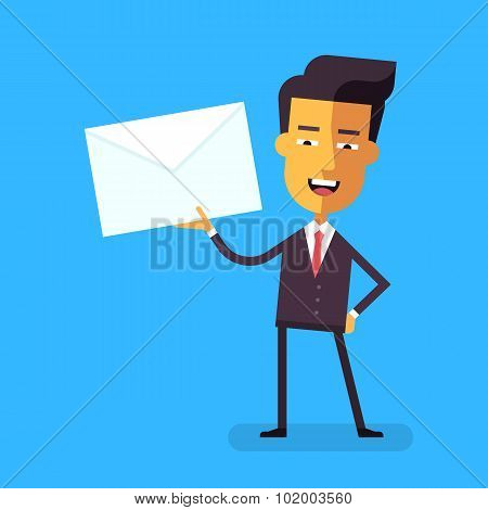 Handsome asian businessman in formal suit talking holding an envelope with a letter. Cartoon charact