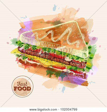 Watercolor Hamburger Or Sandwich. Fast Food Sketch