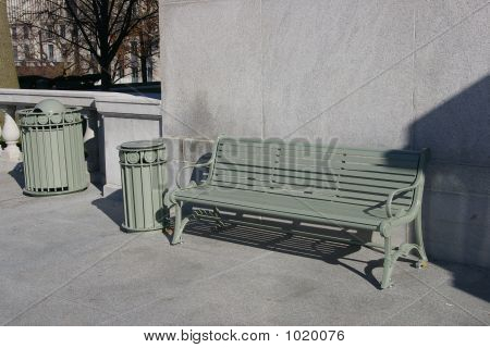 Green Metal Bench And Receptacle