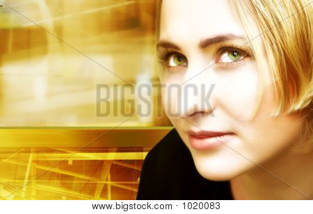 Blond Woman On Digital Movement Background