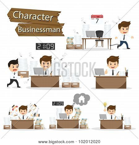 Businessman Character On Office Worker Set Vector Illustration