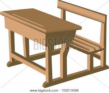 Illustration of a brown school like wooden desk with attached chair.