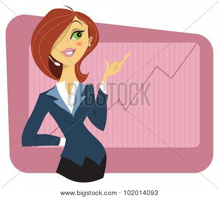 Sexy young woman in a business suit showing a graph of successful finance or company growth