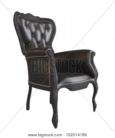 3D photorealistic image of a black leather office armchair, isolated against a white background