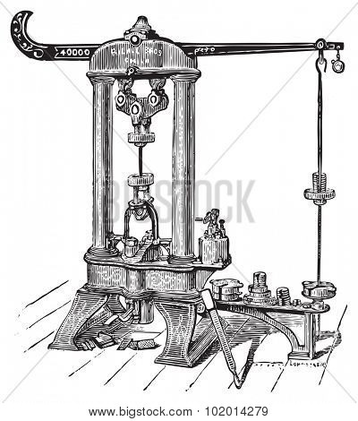 Riehle testing machine. This type of machine was used to gauge a material's resistance to torsion and loading stresses. Became standard equipment in steel mills, railroads, industries, etc.