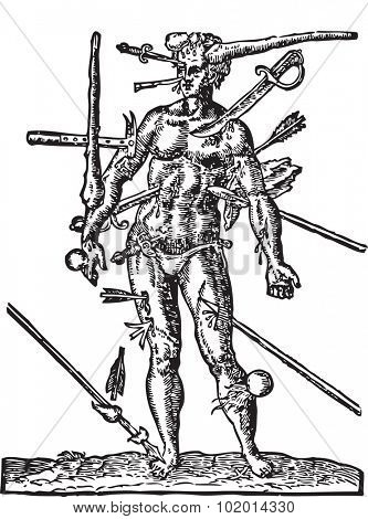 The Man of Wounds old engraving Illustration from  the Opera Chirurgica, by Ambroise Pare 1594. A man with multiple wounds made by weapons, such as sword, arrow, club, lance, cannonball and dagger. poster