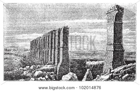 Zaghouan to Carthage roman aqueduct ruins old engraving.  Ruins of the longest roman aqueduct built, from Zaghouan to Carthage, 132km, now in ruins. Vector, engraved illustration