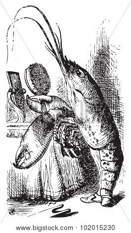 Lobster primping before a mirror - Alice's Adventures in Wonderland original vintage engraving. The Lobster declare: You have baked me too brown, I must sugar my hair. Illustration from John Tenniel