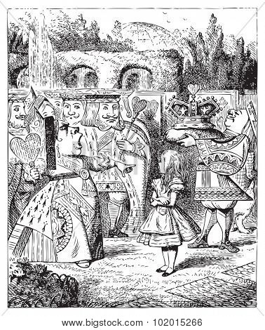 The Queen turned crimson with fury, and, after glaring at her for a moment like a wild beast, screamed ?Off with her head! Off... Alice's Adventures in Wonderland original vintage engraving.