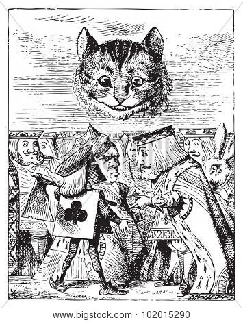 Executioner argues with King about cutting off Cheshire Cat head - Alice's Adventures in Wonderland original vintage engraving.
