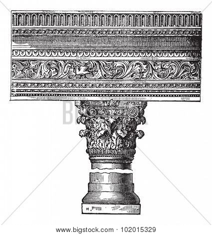 Pillar in the Church of Saint John in Constantinople, now called Istanbul, Turkey, vintage engraving. Old engraved illustration of a pillar in the Church of Saint John in Constantinople. poster