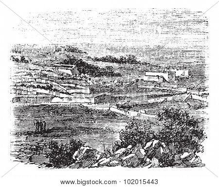 Bethel village, Jerusalem, old engraved illustration of the village, Bethel, Jerusalem in the 1890s