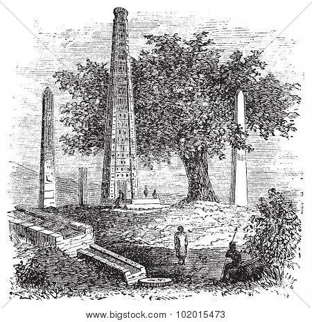 Obelisk of Axum or Rome Stele, in Tigray Region, Ethiopia, during the 1890s, vintage engraving. Old engraved illustration of the Obelisk of Axum.