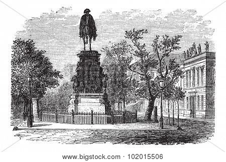 Frederick the Great also known as Fritz, king, statue, Berlin, Germany, old engraved illustration of the Frederick the Great king, statue, Berlin, Germany.
