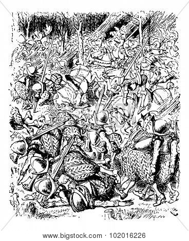 he Soldiers Fill the Whole Forest - original book engraving. THE next moment soldiers came running through the wood, at first in twos and threes, then ten or twenty together, and at last in such crowd