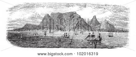 Scenic view from Table bay vintage, Cape Town, South Africa vintage engraving. Old engraved illustration view of Table Mountains near Cape town with ships, 1890s. Trousset Encyclopedia
