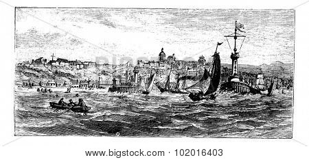 Boulogne-sur-Mer, city, France vintage engraving. Old engraved illustration of ships on the sea nearBoulogne-sur-Mer, France, in the 1890s. Trousset Encyclopedia